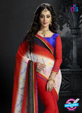 NS11191 Red and White Designer Chiffon Saree