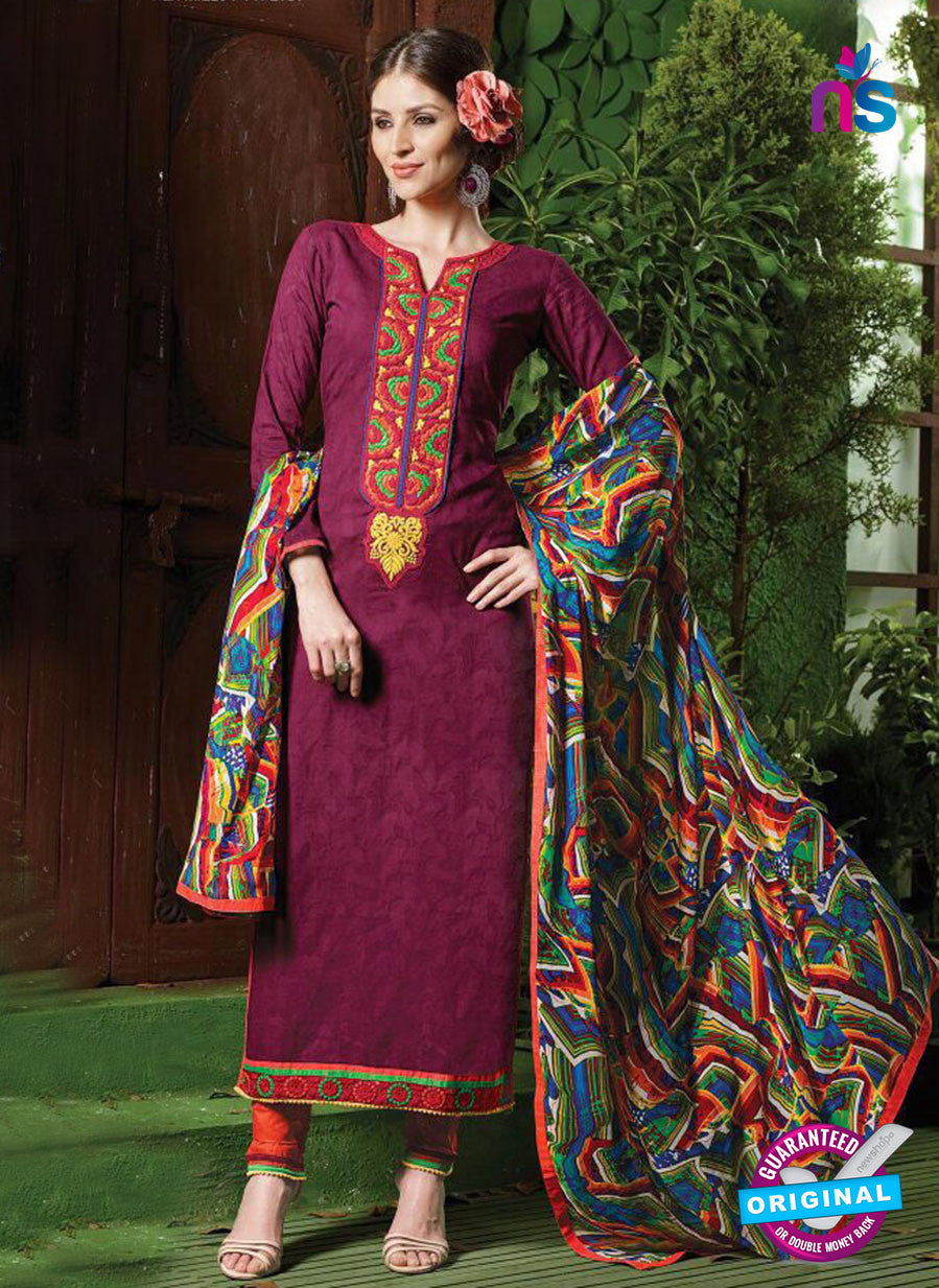 NS10535 Purple and Orange Pure Brasso Cotton Straight Suit