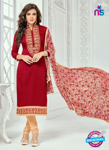 SC 13367 Red Chanderi Cotton Designer Long Straight Suit