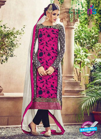 Omtex 82 Pink and White Georgette Suit