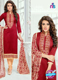SC 13367 Maroon Chanderi Cotton Designer Long Straight Suit