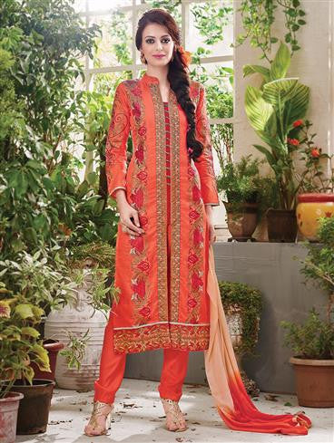 NS11881  Dark Orange and Red Pure Cotton Satin Straight Suit
