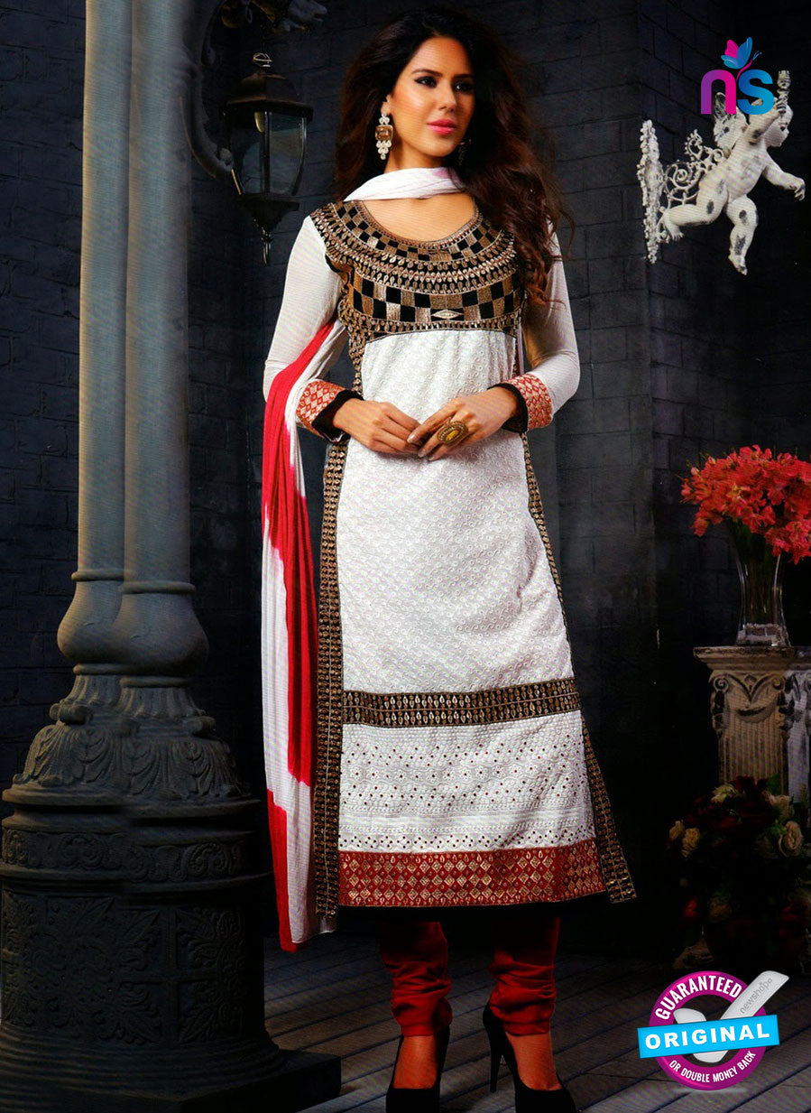 NS12141 White and Red Straight Suit