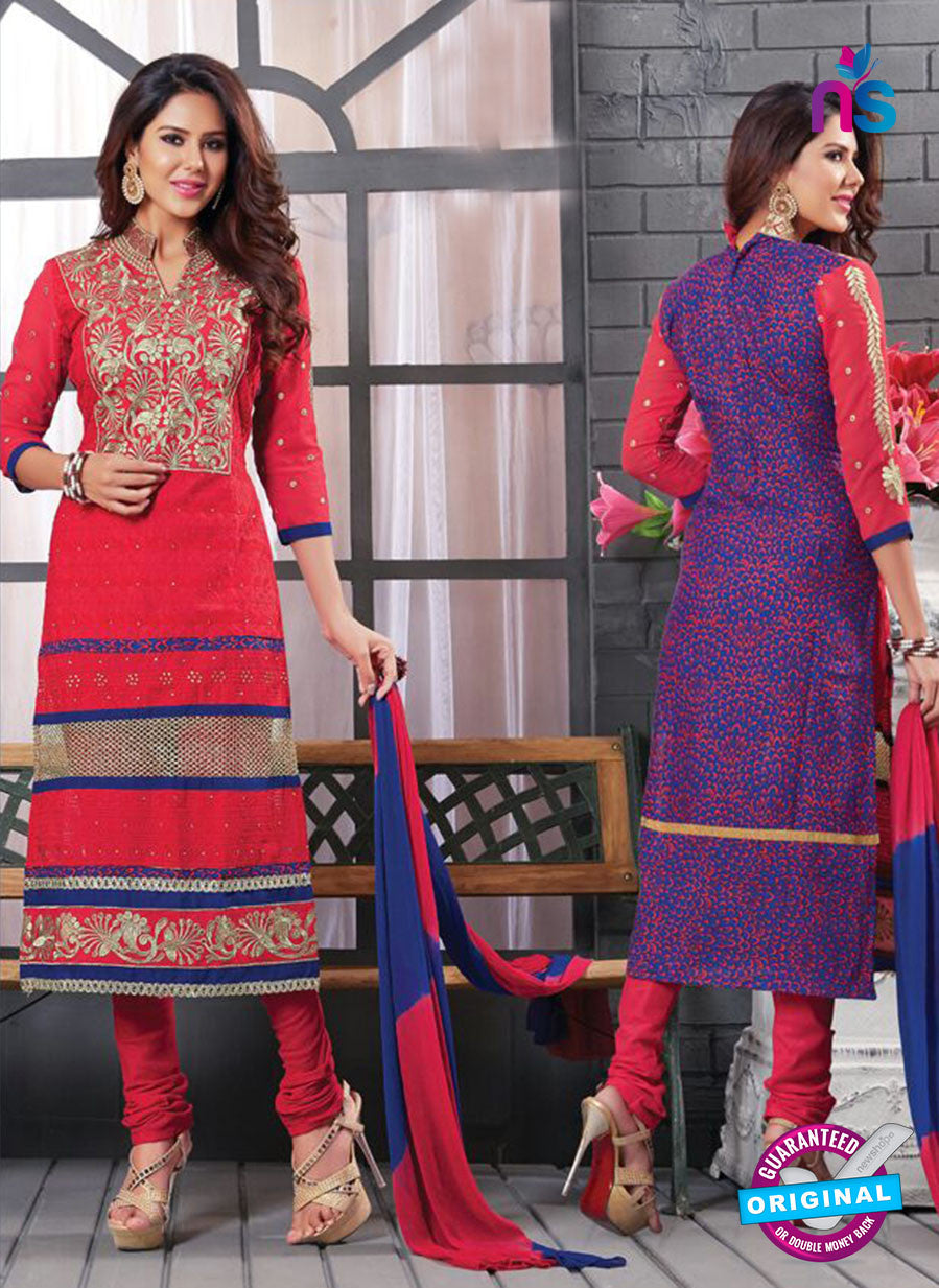 NS12144 Orange and Purple Straight Suit