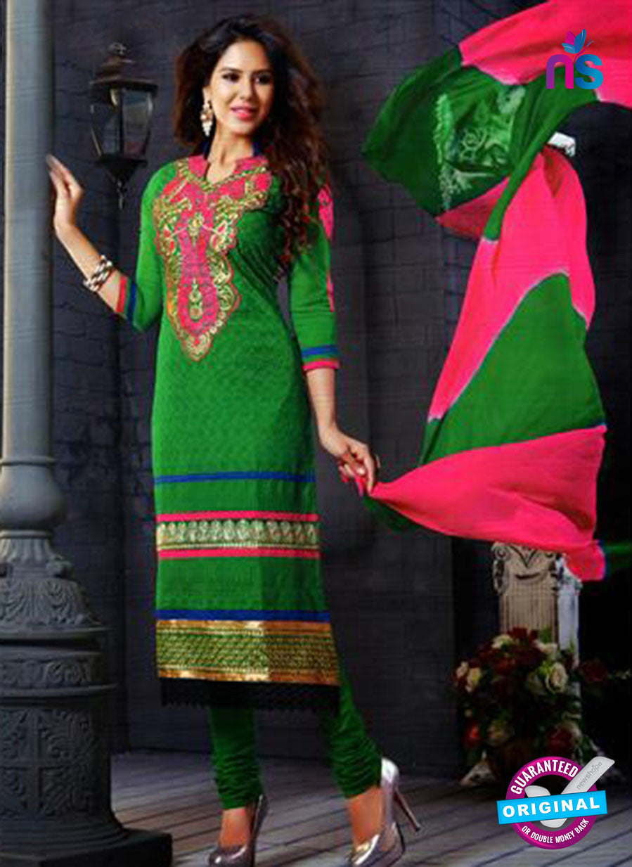 NS12145 Green and Pink Straight Suit