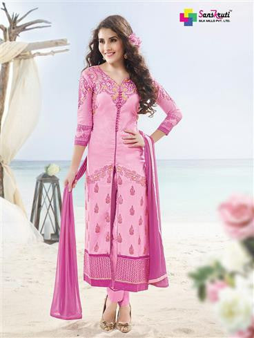 NS11896  Carnation Pink and Dark Pink Satin Cotton Straight Suit