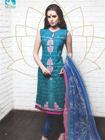 NS11339 SeaBlue and Blue Cotton Satin Pakistani Suit