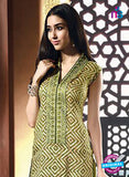 NS10213 Green Printed Pure Satin Cotton Party Wear Long Straight Suit