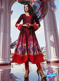 NS10811 A Brown and Red Anarkali Suit