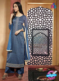 NS10214 Blue Printed Pure Satin Cotton Party Wear Long Straight Suit