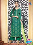 NS10215  Green Printed Pure Satin Cotton Party Wear Long Straight Suit