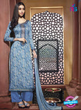 NS10216 Royal Blue and White Printed Pure Satin Cotton Party Wear Long Straight Suit