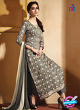 NS10217 Dark Taupe and Beige Printed Pure Satin Cotton Party Wear Long Straight Suit