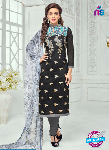 SC 13368 Black and Gray Chanderi Cotton Designer Long Straight Suit