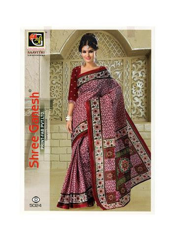 NS11642 D Maroon Designer Printed Pure Cotton Saree