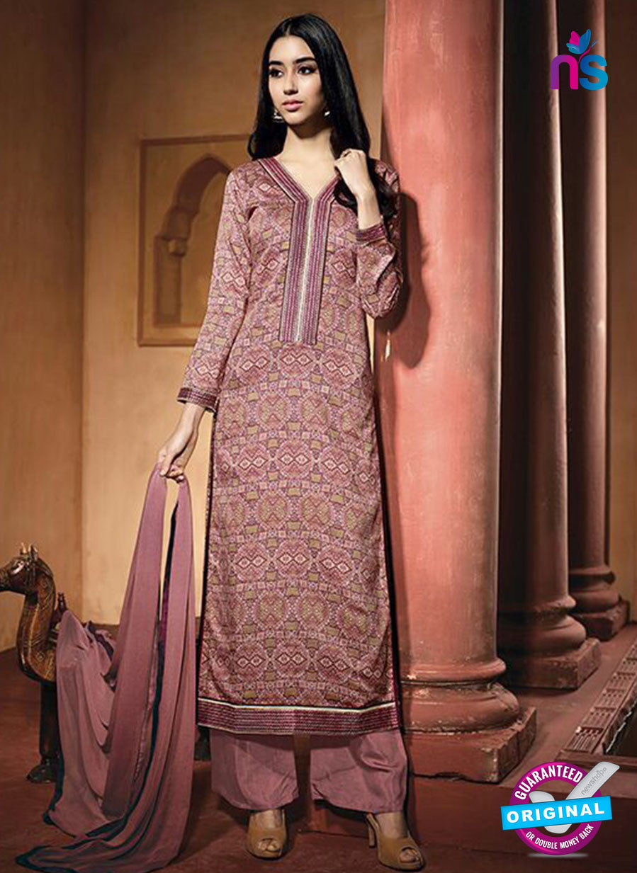NS10218 Pink Printed Pure Satin Cotton Party Wear Long Straight Suit