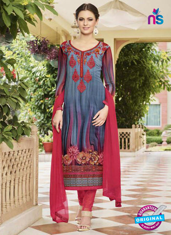 Glossy 8416 Blue Formal Georgette Suit
