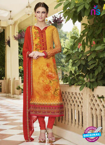 Glossy 8418 Yellow Formal Georgette Suit