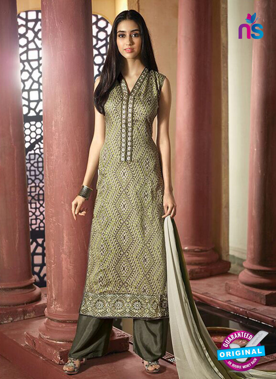 NS10219 Green Printed Pure Satin Cotton Party Wear Long Straight Suit
