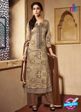 NS10220 Brown Printed Pure Satin Cotton Party Wear Long Straight Suit
