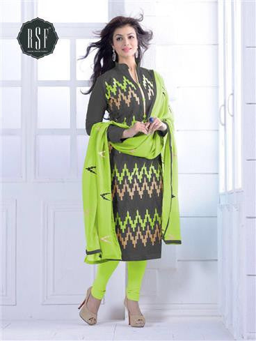 NS11547 B Grey and Green Party Wear Silk Chanderi Straight Suit