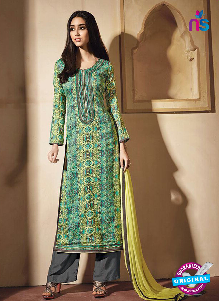 NS10221 Sea Green and Yellow Printed Pure Satin Cotton Party Wear Long Straight Suit