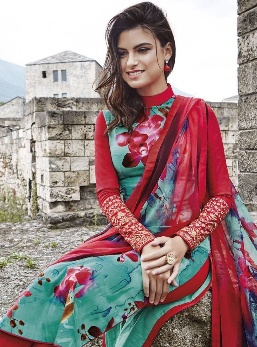 Jinaam 8448 Red & Green Color Glace Cotton Designer Suit