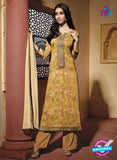 NS10222 Golden Printed Pure Satin Cotton Party Wear Long Straight Suit
