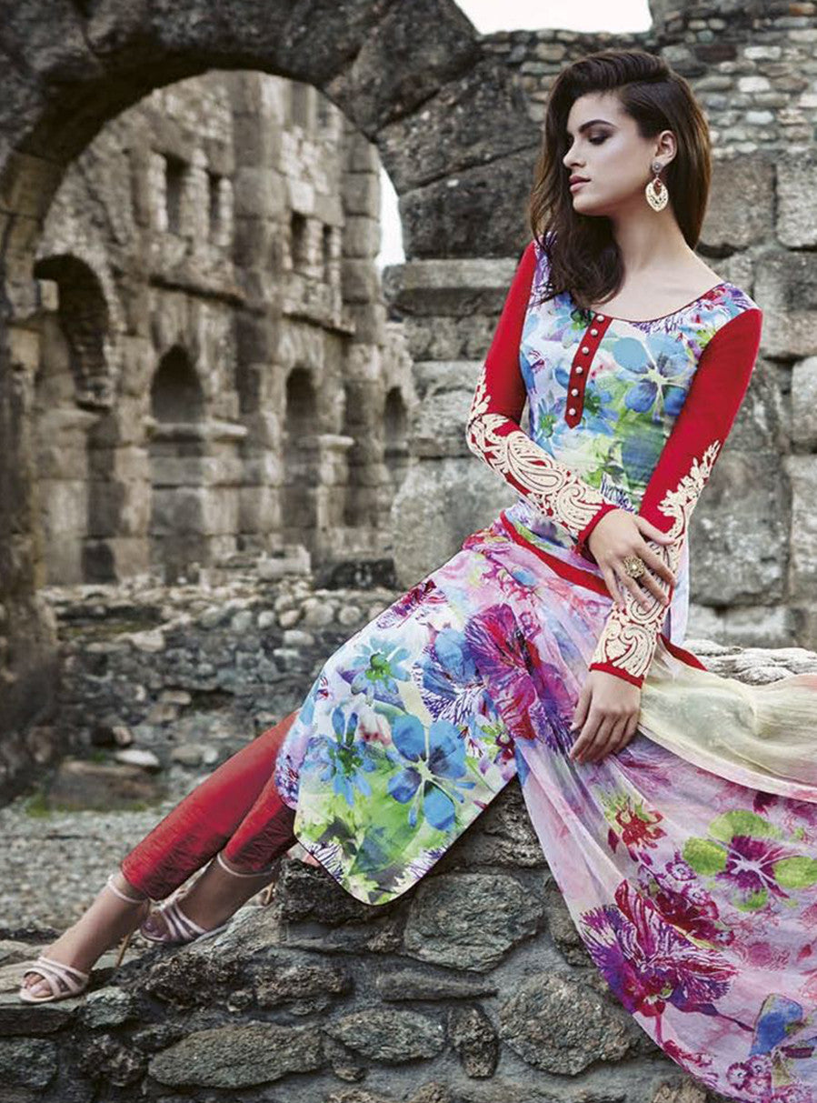 Jinaam 8450 Beige & Red Color Glace Cotton Designer Suit