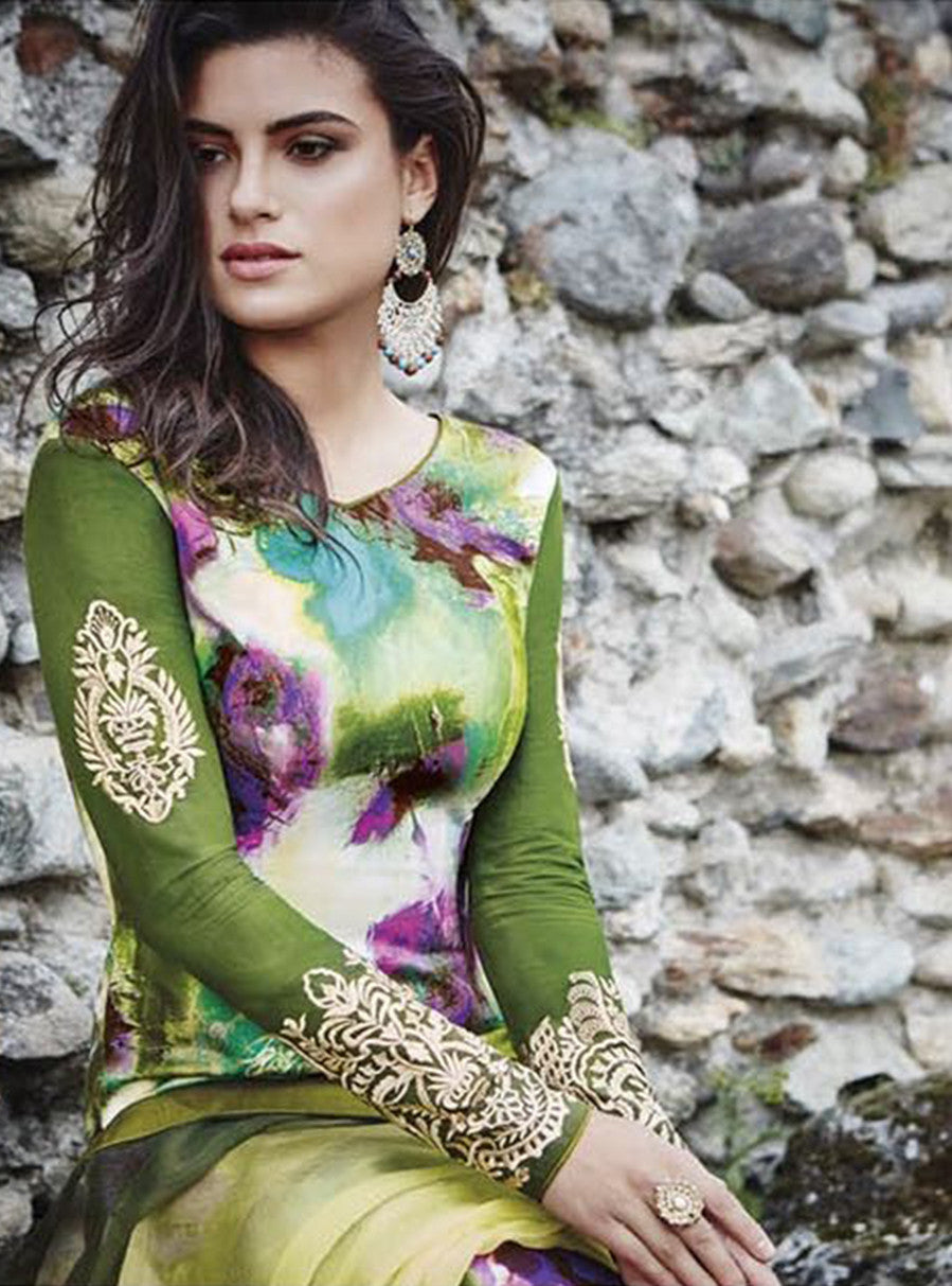 Jinaam 8452 Green Color Glace Cotton Designer Suit