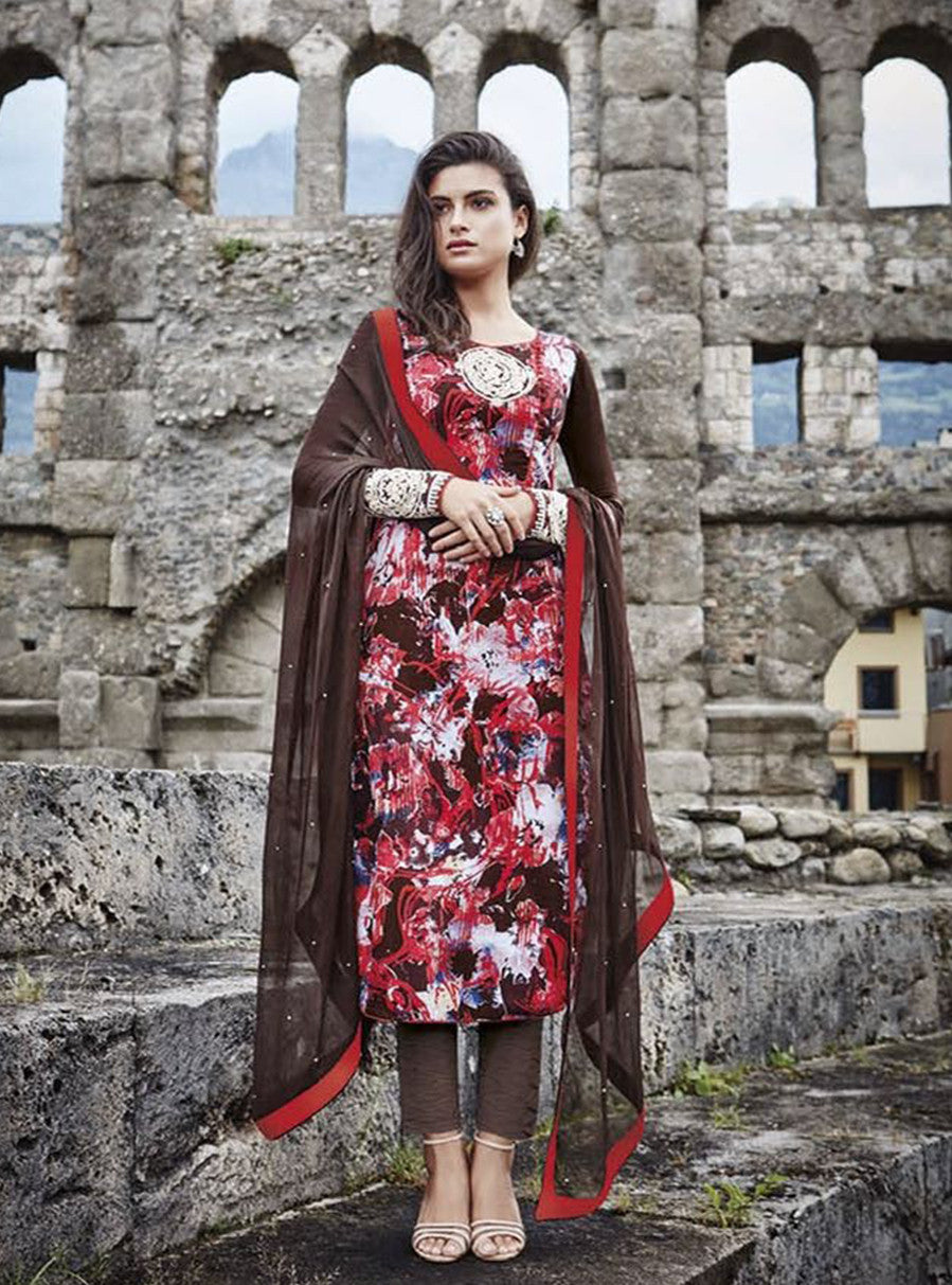 Jinaam 8454 Brown & Red Color Glace Cotton Designer Suit