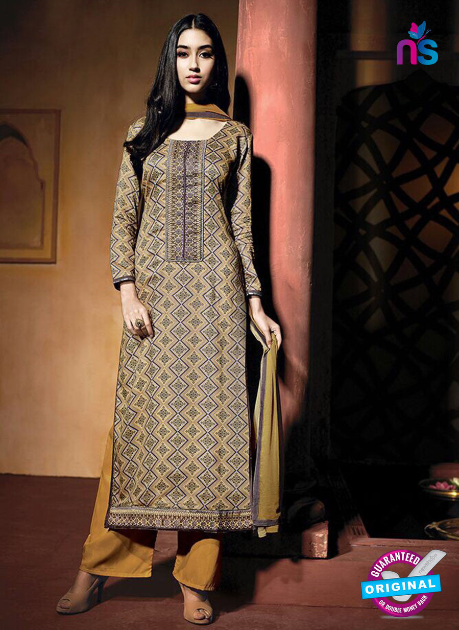 NS10224 Brown Printed Pure Satin Cotton Party Wear Long Straight Suit