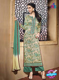 NS10225 Beige and Green Printed Pure Satin Cotton Party Wear Long Straight Suit