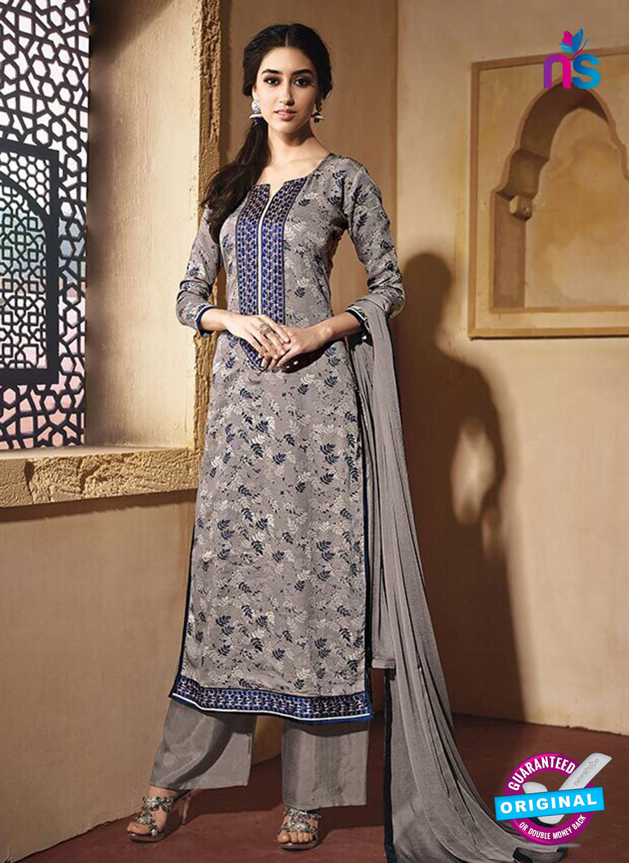 NS10226 Grey Printed Pure Satin Cotton Party Wear Long Straight Suit