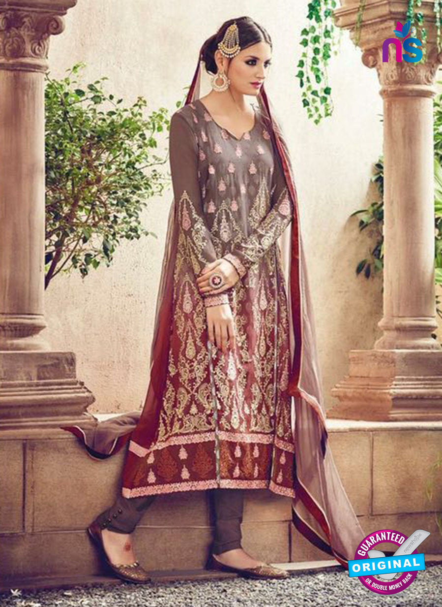 Omtex 84 Beige and Grey Georgette Suit