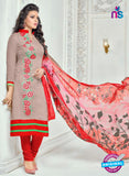 SC 13369 Brown and Red Chanderi Cotton Designer Long Straight Suit