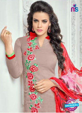 SC 13369 Beige and Red Chanderi Cotton Designer Long Straight Suit