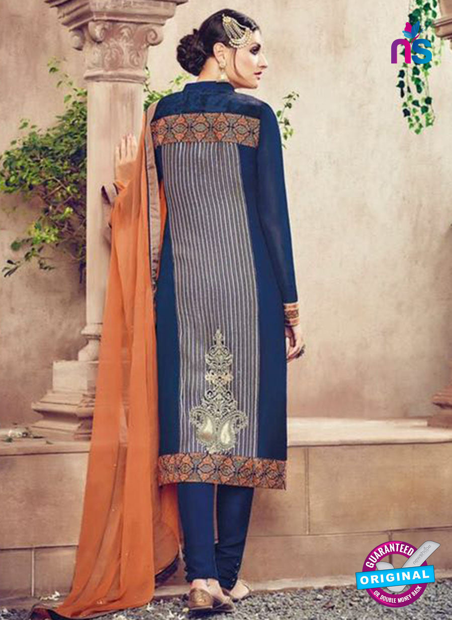 Omtex 85 Blue and Orange Georgette Suit