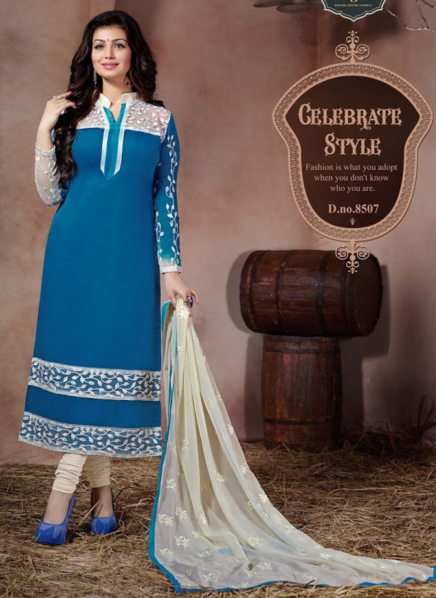 NS11542 Blue and Beige Party Wear Chanderi Silk Straight Suit