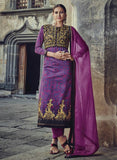 Jinaam 8575 Purple Color Glace Cotton Designer Suit