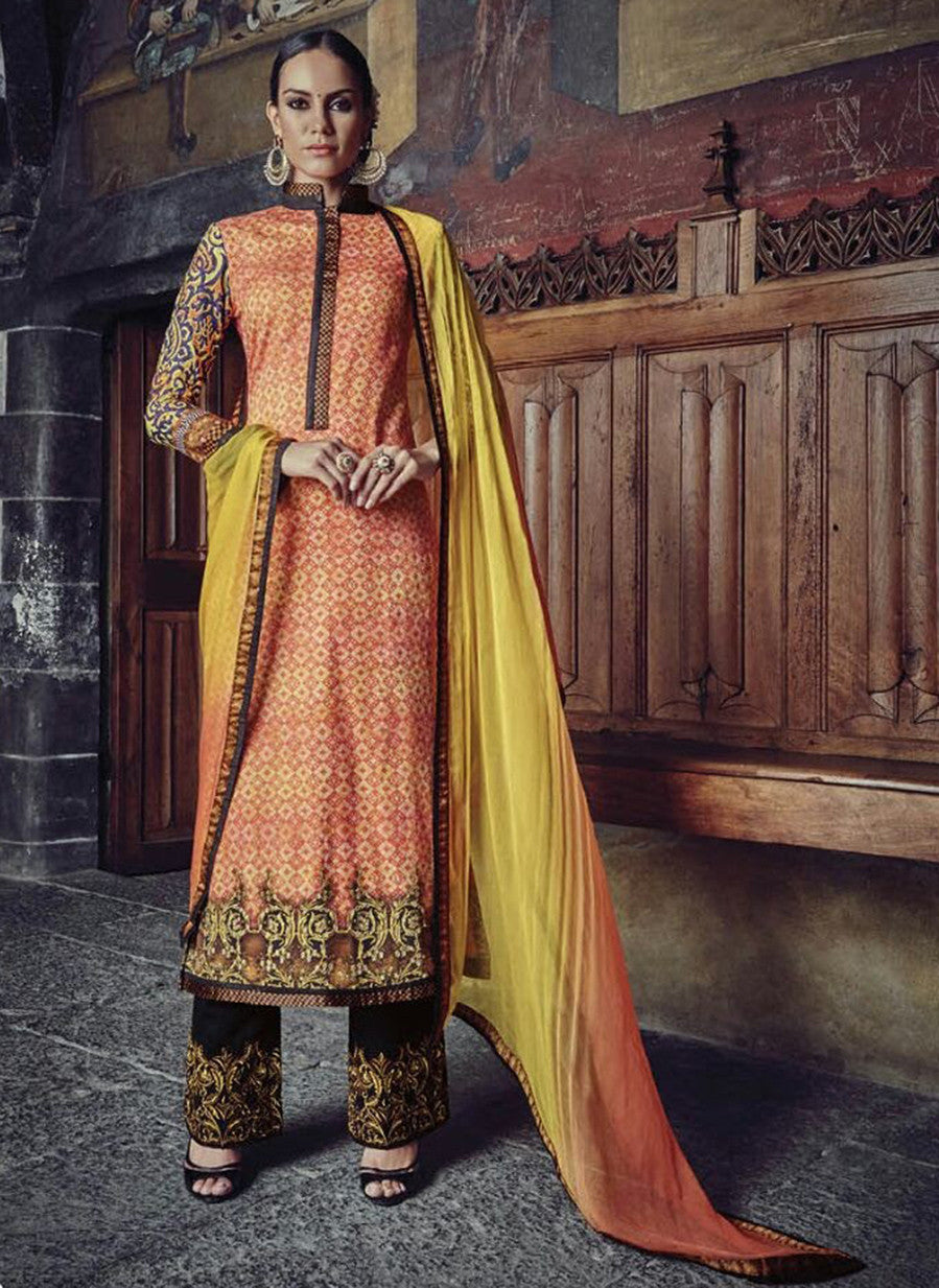 Jinaam 8580 Orange & Black Color Glace Cotton Designer Suit