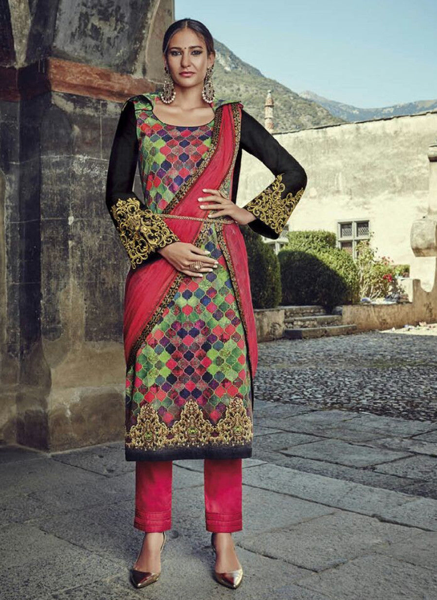 Jinaam 8583 Multi Color Glace Cotton Designer Suit