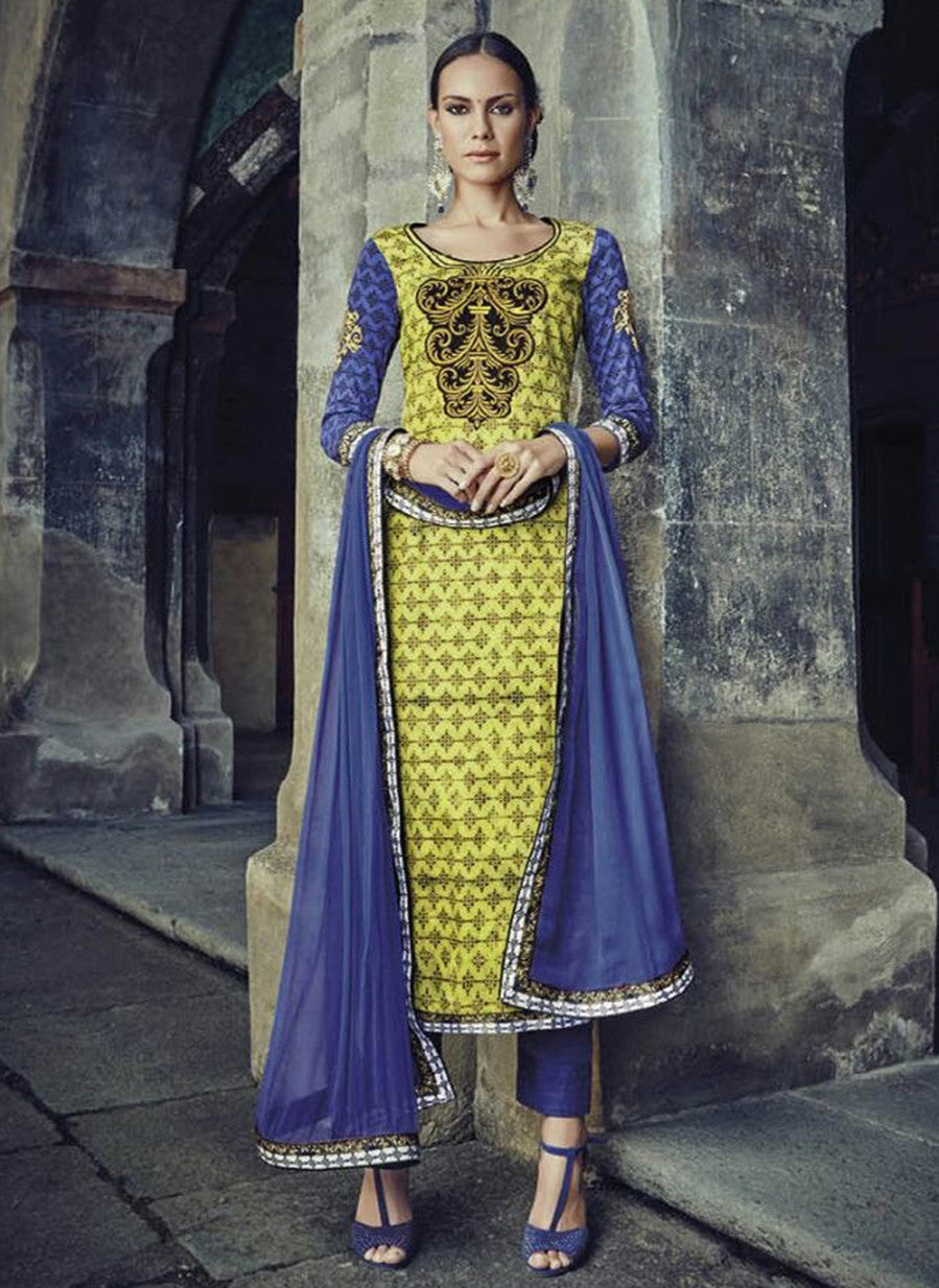Jinaam 8584 Blue & Yellow Color Glace Cotton Designer Suit