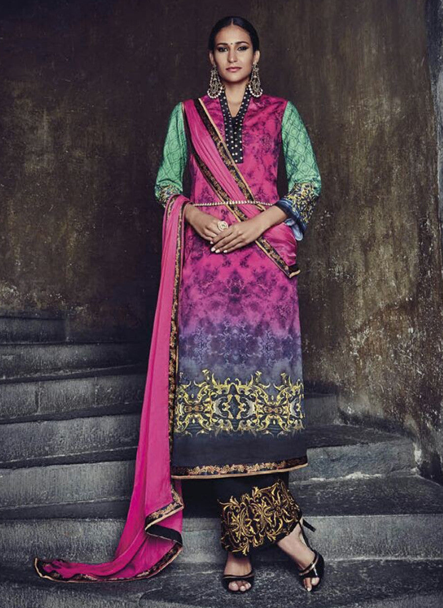 Jinaam 8585 Pink & Black Color Glace Cotton Designer Suit