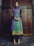 Jinaam 8586 Blue & Green Color Glace Cotton Designer Suit