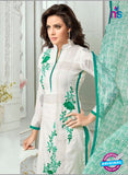SC 13370 White and Green Chanderi Cotton Designer Long Straight Suit