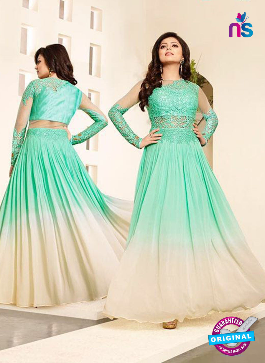 SC12713 Green and Beige Net and Georgette Party Wear Gawn