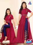 SC12716 Maroon and Blue Silk Party Wear Designer Suit