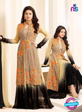 SC12718 Beige and Black Georgette Party Wear Designer Suit