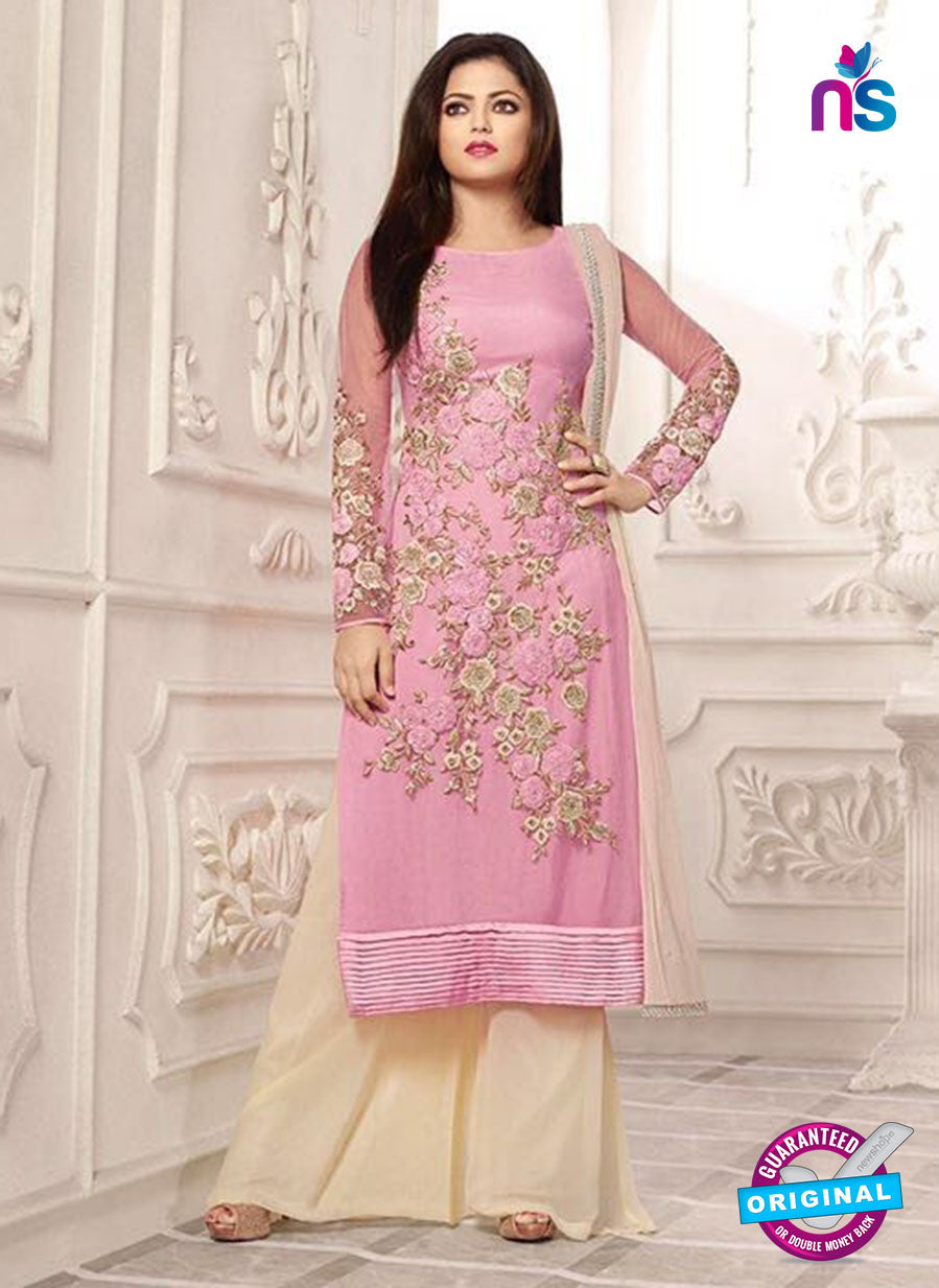 Buy SC12719 Pink and Beige Net Designer Suit Online